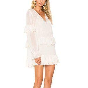 Tularosa Darla Ruffle Sheer Mini Dress Cloud Cream